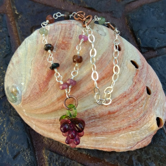 Sterling Silver and Watermelon Tourmaline Bracelet