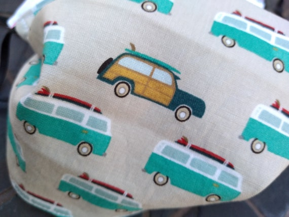 Volkswagen Bus Adjustable Handsewn Cotton Washable Mask with Nosewire