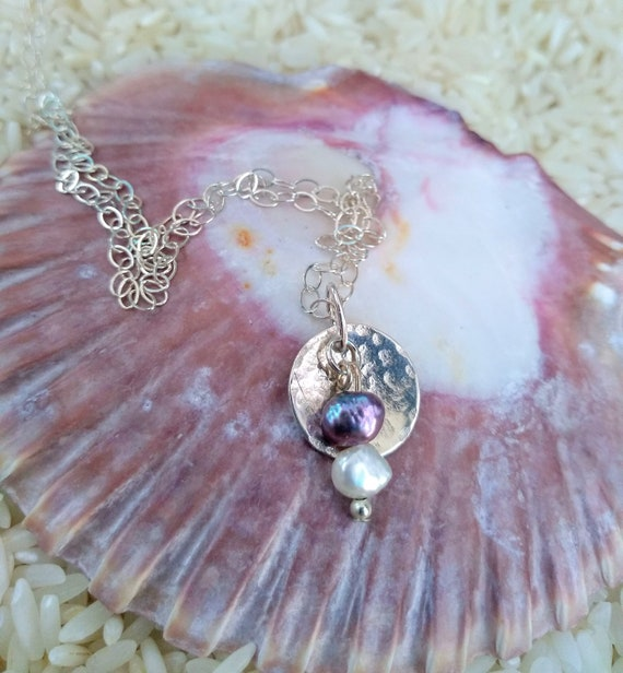 Sterling Silver Necklace with Hand Hammered Disc and Freshwater pearls