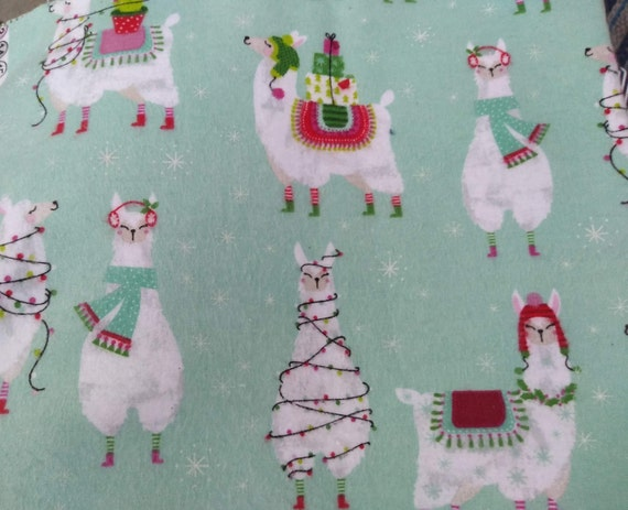 LLamas With Santa Hat Christmas Handsewn Cotton Adjustable Washable Mask with Nosewire