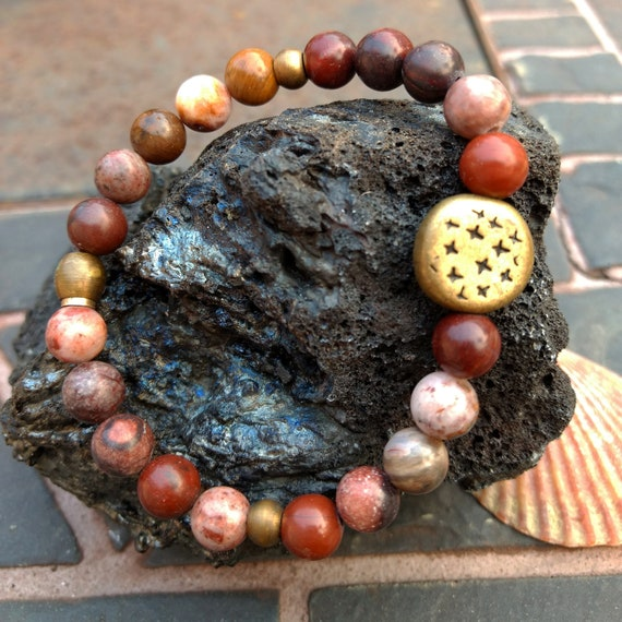 Jasper and Brass Hand Beaded Bracelet