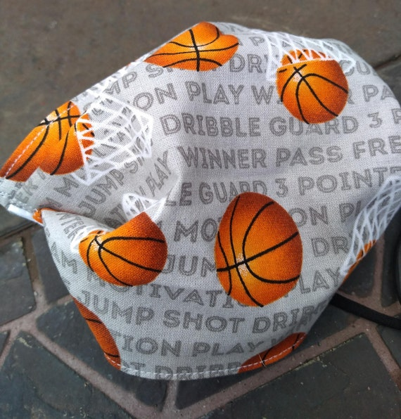 Basketball Adjustable Handsewn Cotton Washable Face Mask with Nosewire