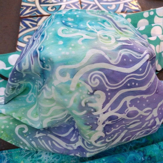 Jellyfish Batik Cotton Handsewn Adjustable Washable Mask with Nosewire