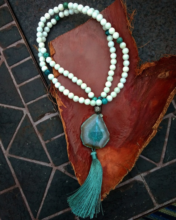 Hand Beaded Necklace with Blue Lace Agate