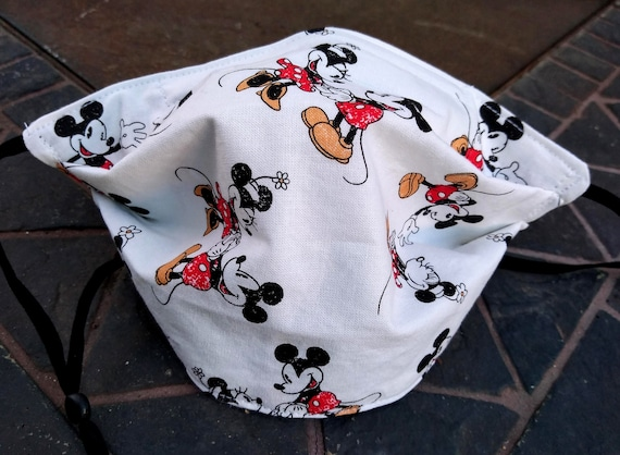 Mickey and Minnie Mouse Adjustable Washable Facemask with Nosewire