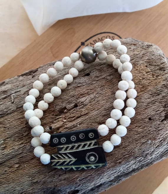 White Lava and Vintage Wood Carved Handbeaded Bracelet