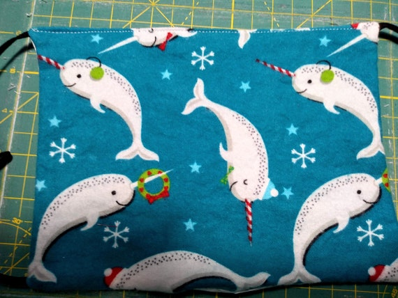 Holiday Narwhal Adjustable Cotton Washable Mask with Nosewire