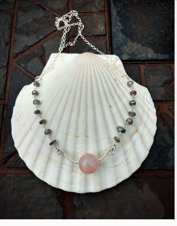 Sterling Silver Necklace with Rose Quartz and Labradorite Stones