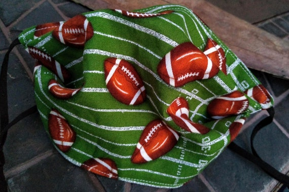 Football Adjustable Handsewn Cotton Washable Face Mask with Nosewire