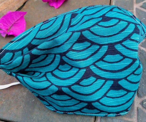 Beautiful Navy and Teal Japanese Dobby weave fabric mask with Seigaiha wave pattern