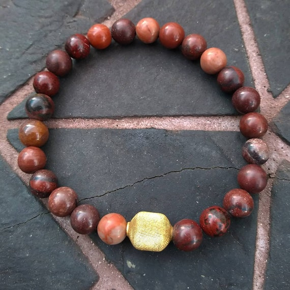 Red Jasper Hand Beaded Bracelet with Vintage Bead