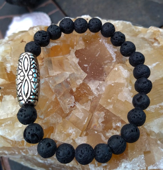 Hand Beaded Bracelet with Lava and Vintage Silver Beads
