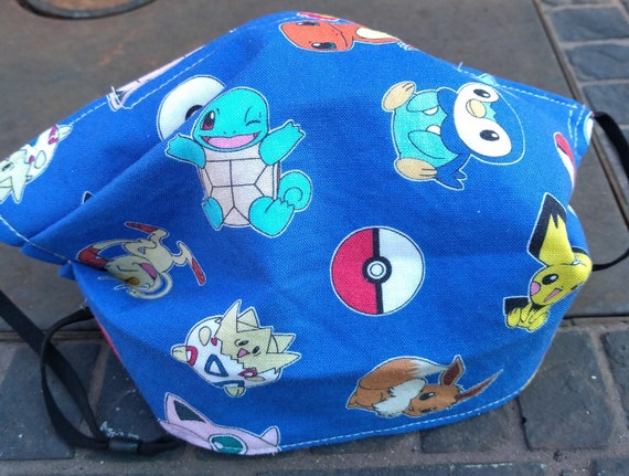 Pokemon  and Friends Adustable Handsewn Cotton Washable Mask with Nosewire