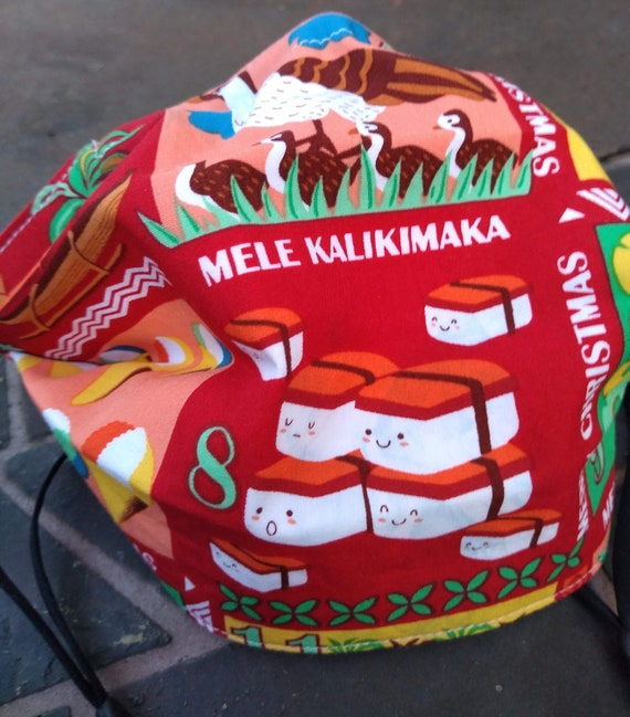 Hawaiian 12 Days of Christmas Handsewn Cotton Adjustable Washable Mask with Nosewire