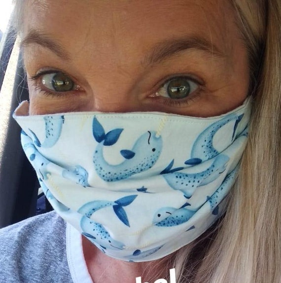 Narwhal Adjustable Cotton Washable Mask with Nosewire