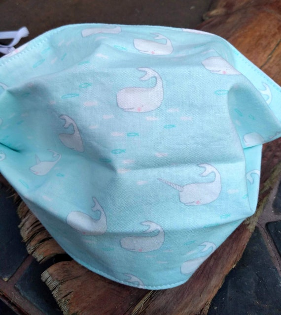 Cute Whale and Narwhal Adjustable Handsewn Cotton Washable Mask with Nosewire