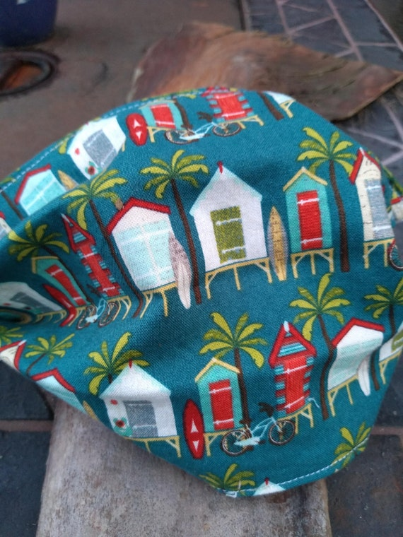 Beach Hut Adjustable Handsewn Cotton Washable Mask with Nosewire