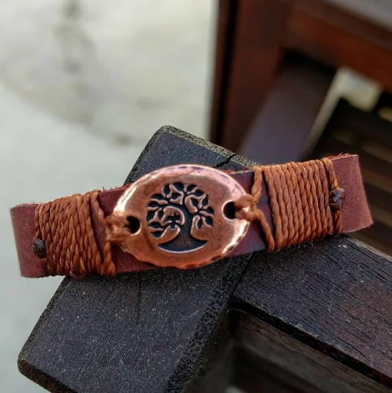 Leather Tree of Life Bracelet