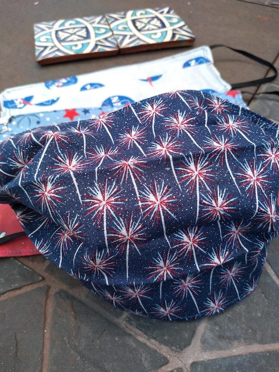 Handsewn Patriotic Fireworks Cotton Washable Mask
