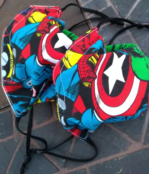 1 Marvel Superheroes Children's Adjustable Handsewn Cotton Washable Mask with Nosewire