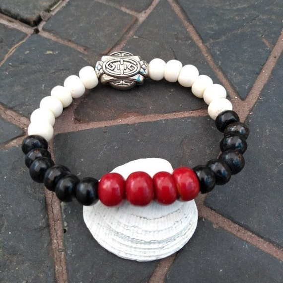 Hand beaded Bracelet with Tibetan Beads