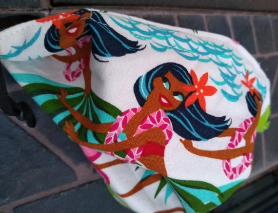 Hula Girl Adjustable Cotton Washable Mask with Nosewire
