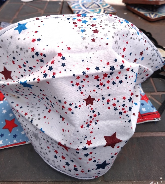 Patriotic Red, White and Blue stars Cotton Adjustable Mask