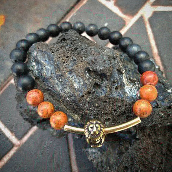 Hand Beaded Bracelet with Lion and Picasso Jasper Beads