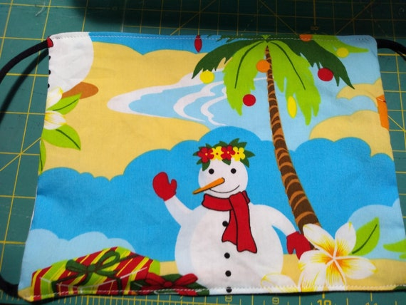 Island Snowman and Palmtree Christmas Handsewn Cotton Adjustable Washable Mask with Nosewire