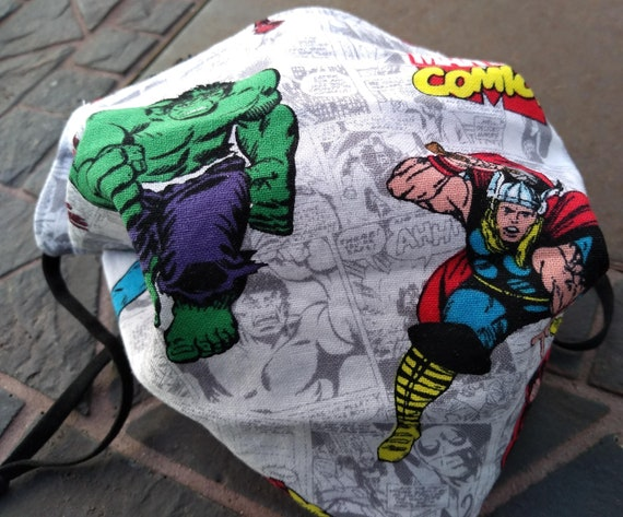Marvel Superheroes Adjustable Handsewn Cotton Washable Mask with Nosewire
