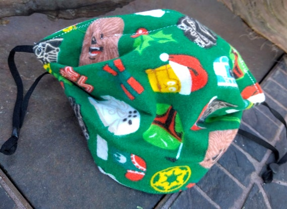 Star Wars Flannel Christmas Handsewn Cotton Adjustable Washable Mask with Nosewire