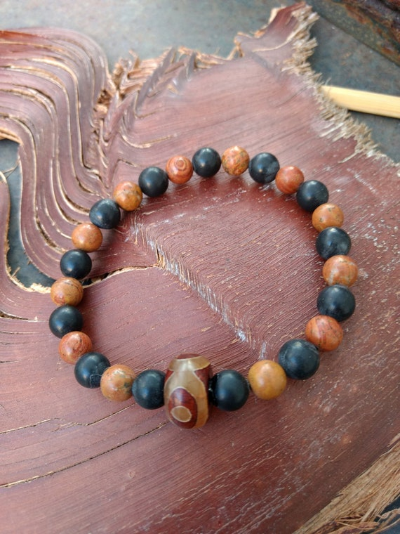 Hand beaded Bracelet with Agate and Jasper (shown with other bracelets sold separately)