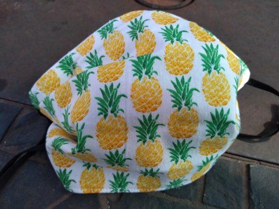 Pineapple Yellow and Green Adjustable Handsewn Cotton Washable Mask with Nosewire