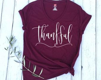 Thankful Shirt, Thankful T-shirt, Thankful, Thanksgiving Shirt, Holiday Shirt, Fall Shirt, Fall style, Fall Fashion, Grateful Shirt, Blessed