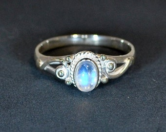 Sterling silver ring rainbow moonstone