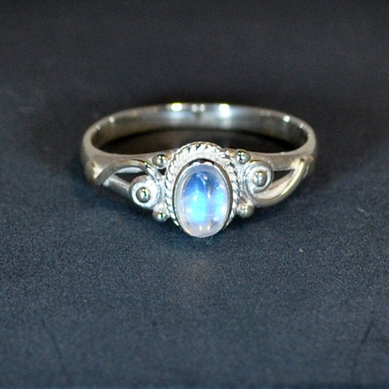 Sterling silver ring rainbow moonstone  image 0