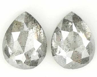 8.15 mm X 5.92 mm x 3.53 mm Fancy Grey Color Pear Natural Loose Diamond SJ4242 1.47 Ct Rose Cut Pear Shape Natural Loose Diamond