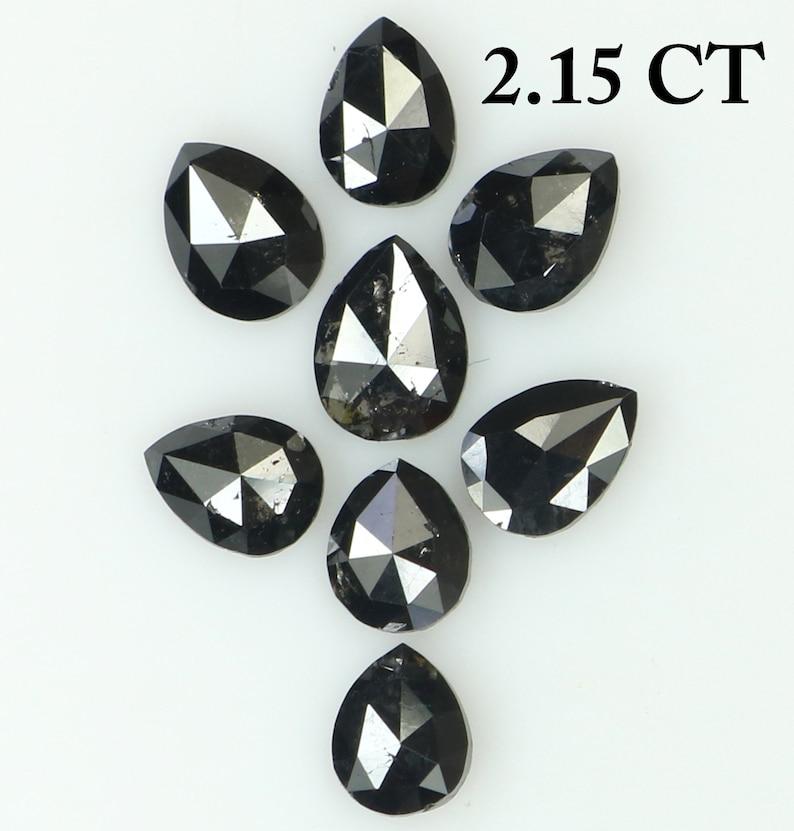 2.15 Ct Natural Loose Diamond Pear Black Color I3 Clarity 8 Pcs N8611