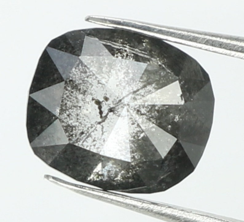 0.61 Ct Natural Loose Diamond Oval Black Grey Salt And Pepper Color I3 Clarity 5.30 MM N7694