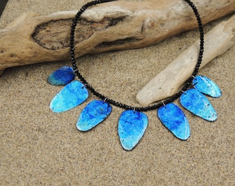 Stunning necklace resin and polymer, light blue shiny Christmas gift