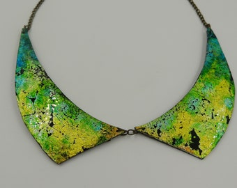 Handmade necklace as a cowl, resin and polymer necklace light bright Christmas gift