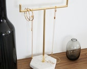 Solid Marble Gold Jewellery Stand Tree Organiser