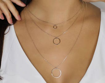 3 Tier Layered Circle Necklace