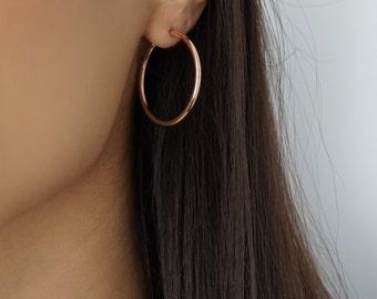 904c3d65d29501 Rose Gold 18K Hoop Earrings