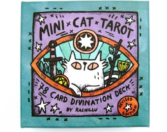 Mini Cat Tarot Deck and Companion Guidebook plus optional Tarot Cloth - cute unique set perfect for cat lovers and tarot card readers!