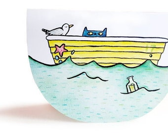 Sailor Cat rocking boat greetings card