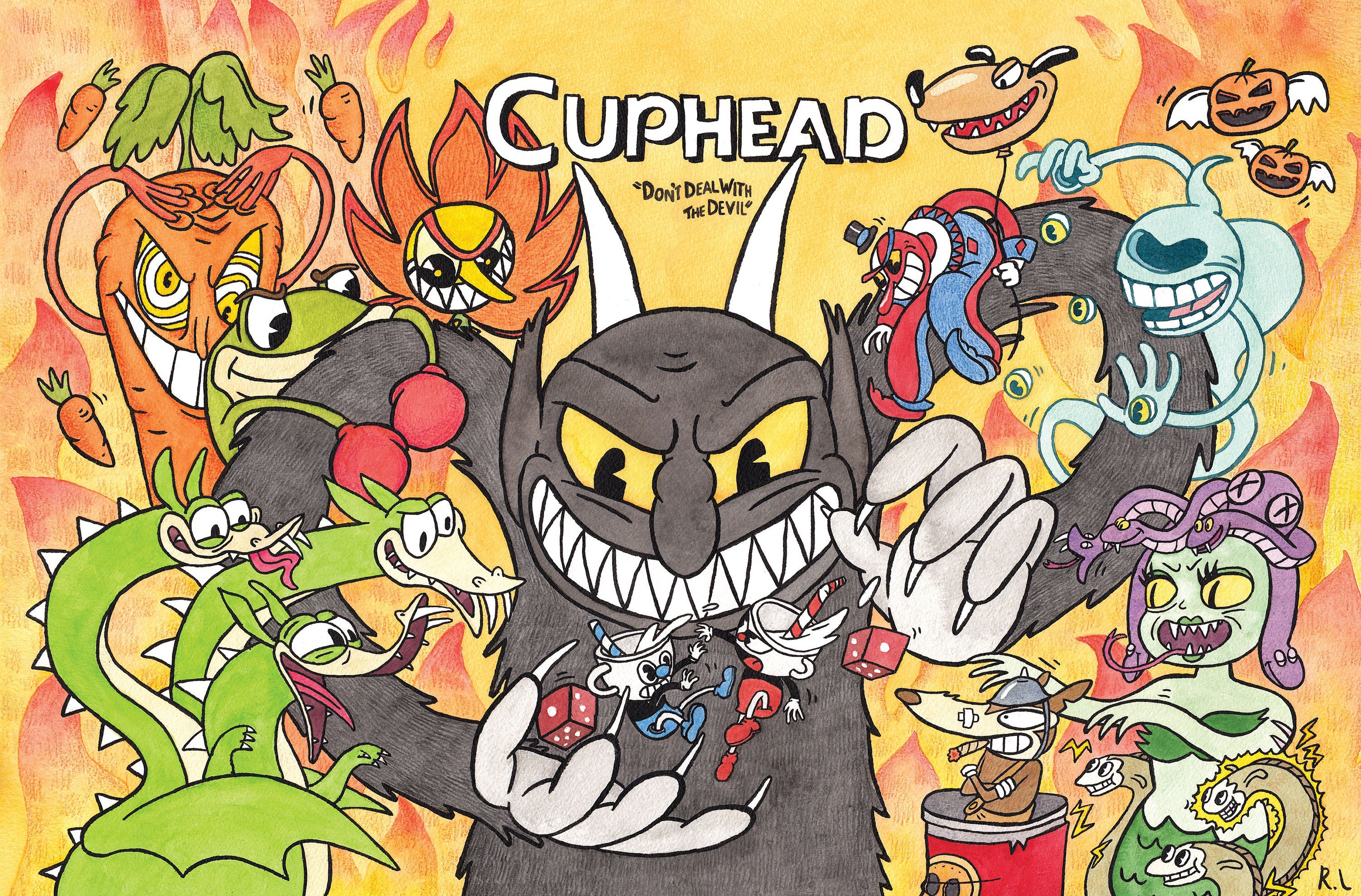 Cuphead Indie Videogame Poster featuring the Devil Cuphead