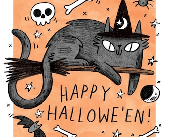 Happy Halloween Witch Cat greetings card with surprise inside