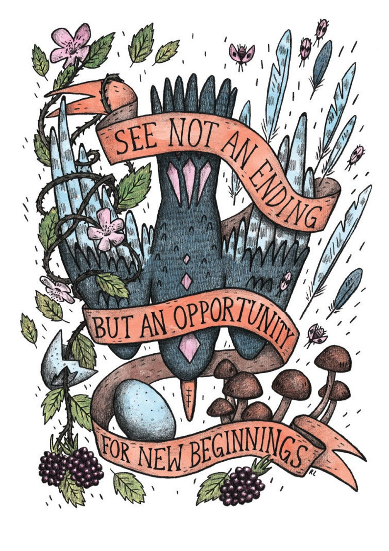 New Beginnings vanitas bird art print with optimistic memento mori message