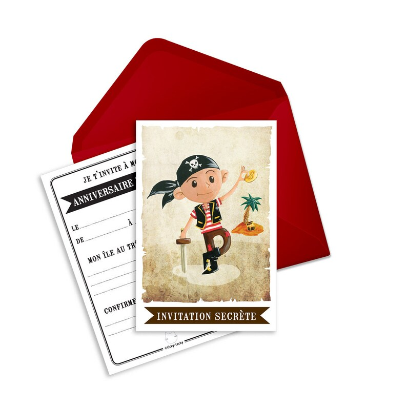 Birthday invitation cards in french Jack the pirate envelopes per 6